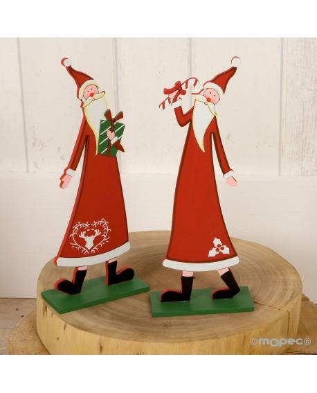 Figura de madera de Papa Noel.