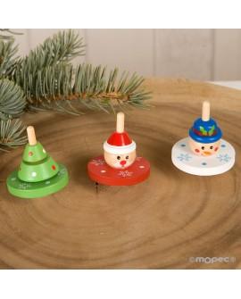 Peonza de madera navideña surtida.