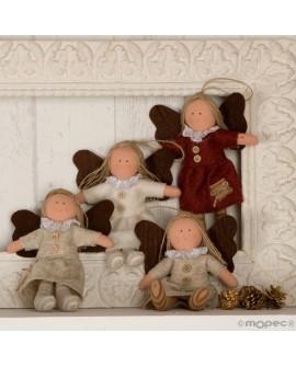 Muñeca angelita colgante Navidad.