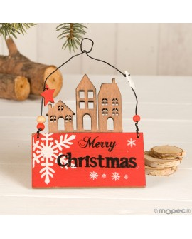 Colgante casitas navideño de madera