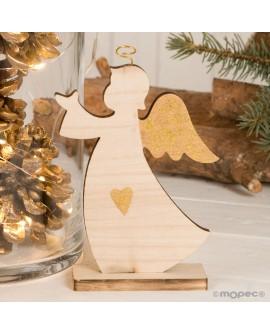 Figura silueta ángel de madera.
