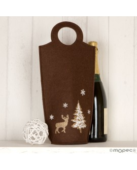 Bolsa marrón para botella de fieltro navideño.