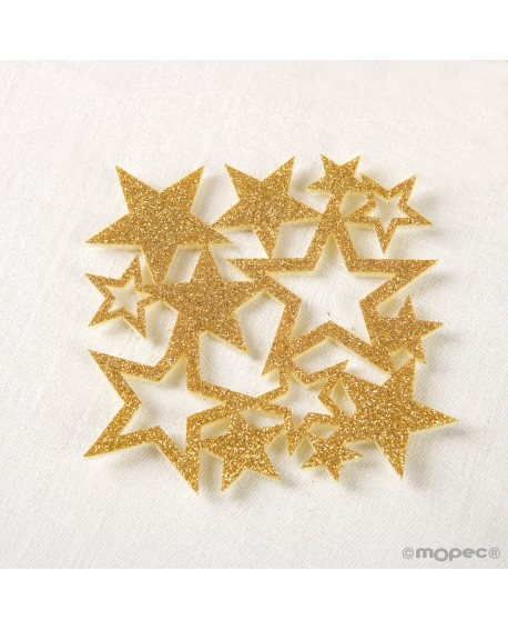 Posavasos de estrellas de purpurina dorado