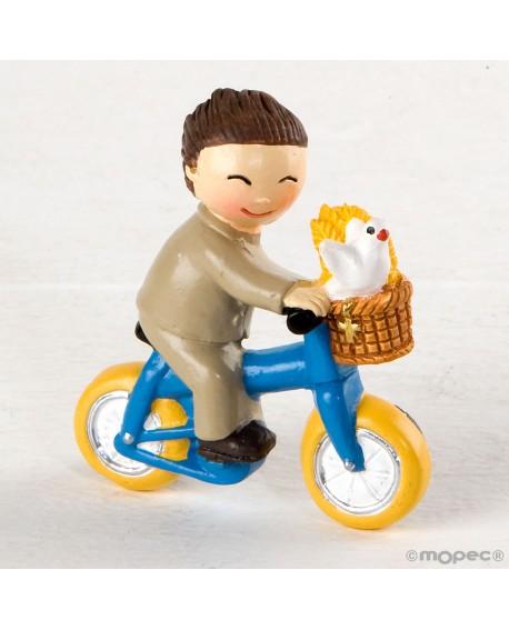 Imán de niño de comunión en bici