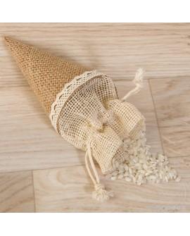 Cono bolsa de yute para pétalos y arroz