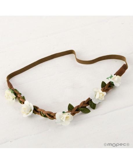 Diadema o corona de flores elástica