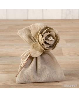 Bolsita de algodón 2 colores con flor y bombones.