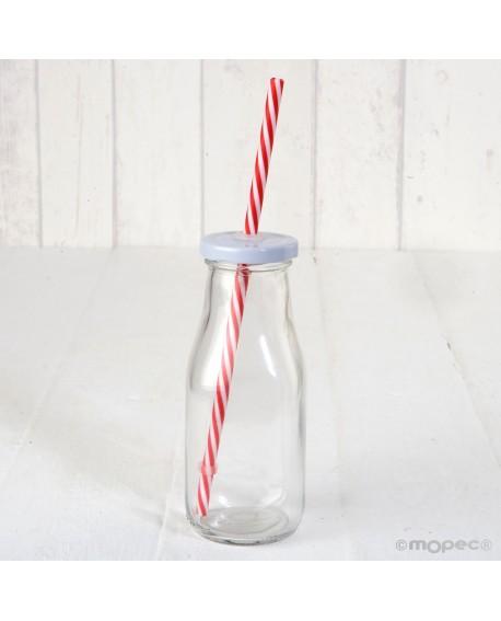 Botellita de cristal con tapa y caña