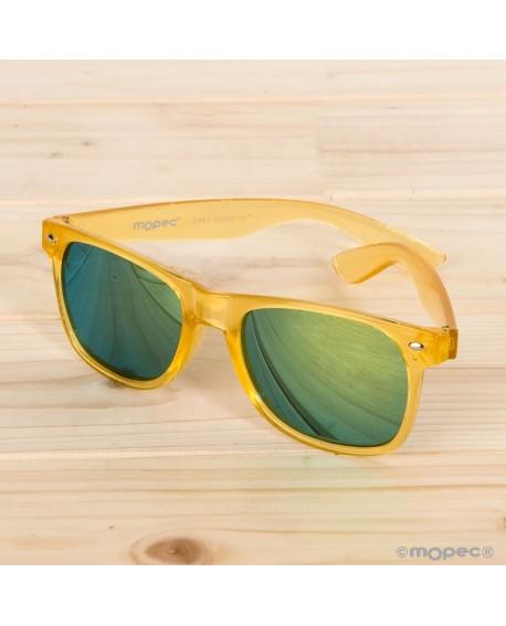 Gafas de sol semi-transparentes amarillas con espejo