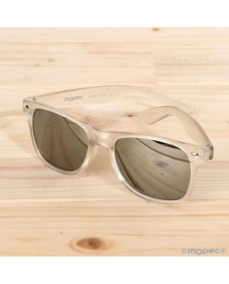 Gafas de sol semi-transparentes plateadas con espejo