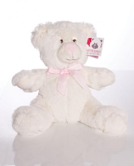 Osito de peluche blanco con lazo rosa.