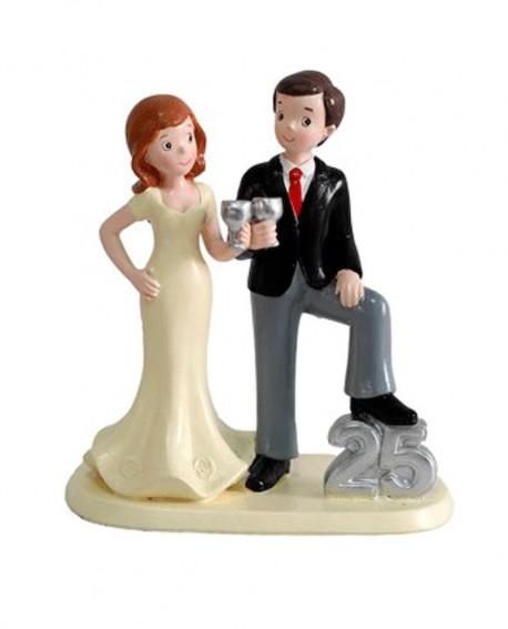 Figura de novios para bodas de plata.