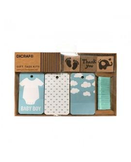 Set de tarjetas y sellos de bebe en azul