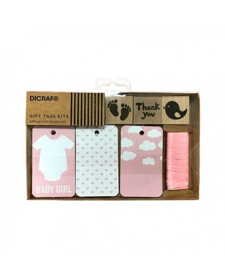 Set de tarjetas y sellos de bebe en rosa