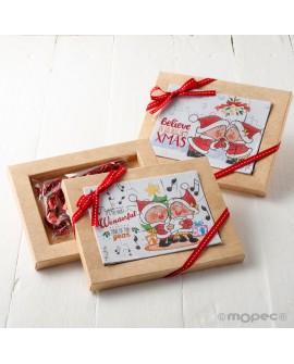 Puzzle y postal de Navidad con dulces