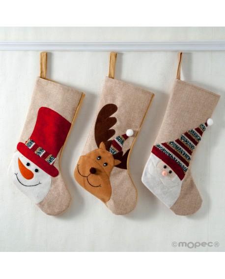 Calcetín de tela decorada en 3 modelos surtidos.