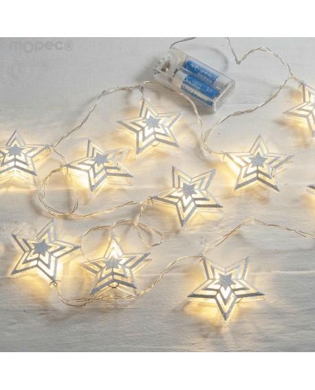 Guirnalda decorativa de estrellas con luces de leds
