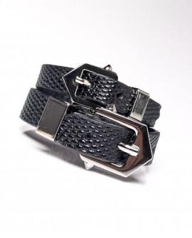 Pulsera cinturón doble plata.