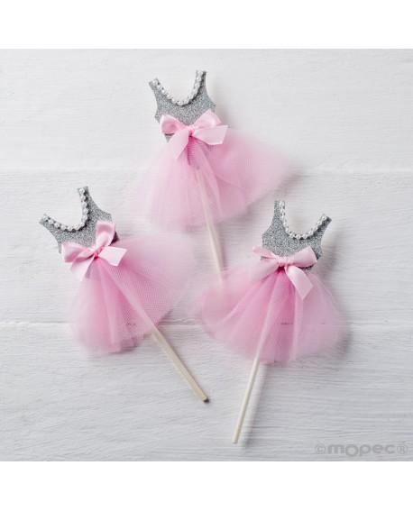 Pic de bailarina en gris y rosa con perlas.