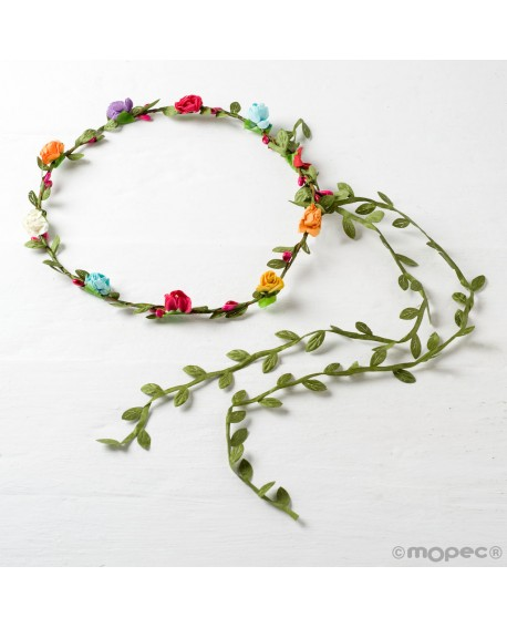 Corona de flores de colores.