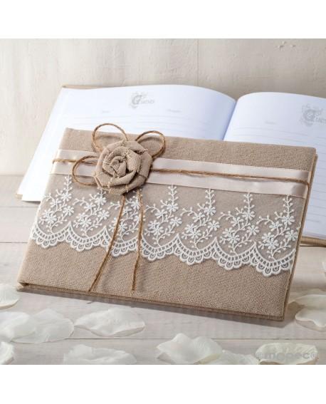 Libro de firmas en yute con flor