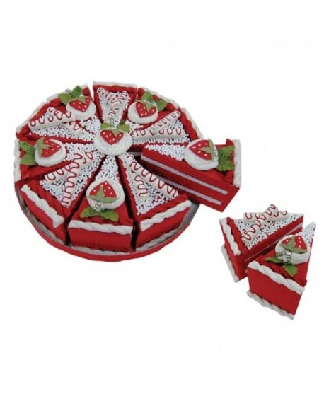 Tarta de cajitas con forma de porciones rojo