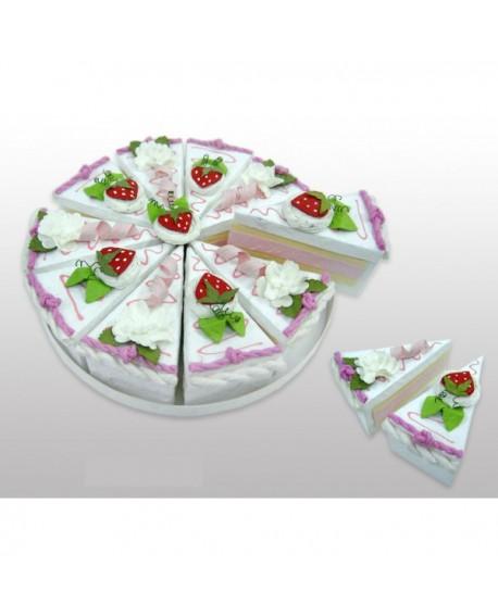 Tarta de cajitas con forma de porciones rosa