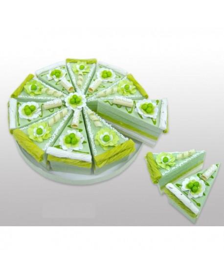 Tarta de cajitas con forma de porciones verde