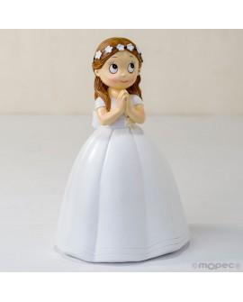 Figura niña comunión con corona flores para tarta