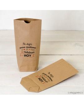 """Bolsa de papel kraft """"No dejes para mañana"""" en color."""
