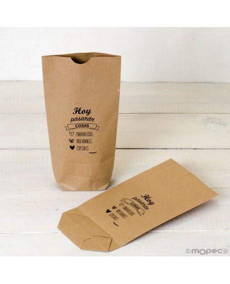 """Bolsa de papel kraft """"Hoy pasarán cosas...""""."""