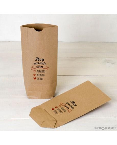 """Bolsa de papel kraft """"Hoy pasarán cosas..."""" en color."""