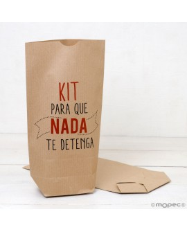 "Bolsa de papel kraft ""Kit para que nada te detenga"" en color."