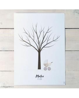 Lamina árbol huellas de cochecito.