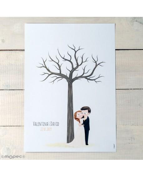Lamina árbol huellas con novios.