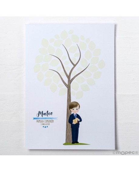 Lamina árbol huellas de niño de comunión.