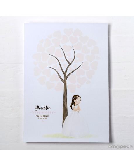 Lamina árbol huellas de niña de comunión.