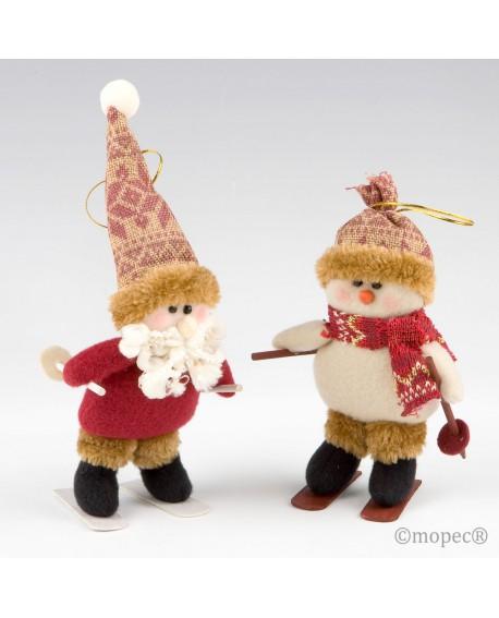 Muñecos esquiadores decorativos de Navidad