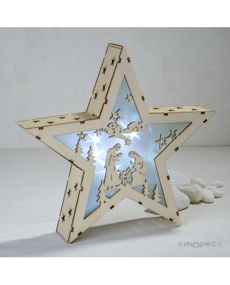 Figura silueta de estrella con nacimiento de madera con luz.