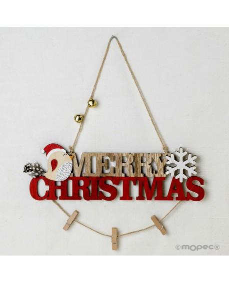 Colgante navideño de madera con pinzas