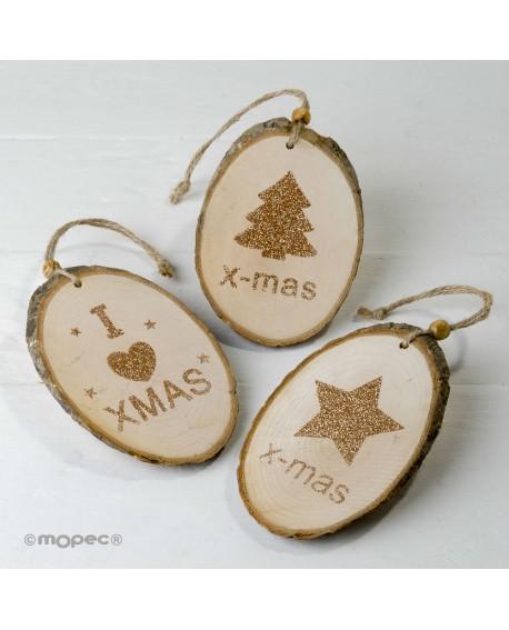 Colgante navideño de tronco de madera