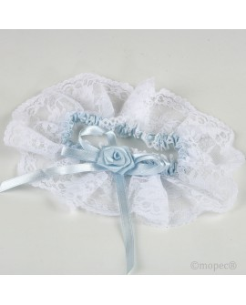 Liga para novia en blanco y azul.