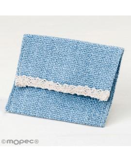 Bolsita de algodón en azul con velcro.