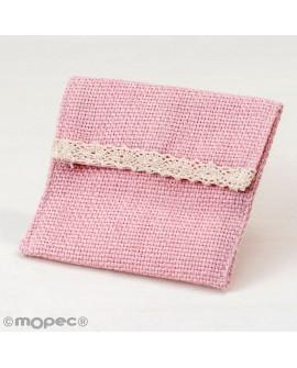 Bolsita de algodón en rosa con velcro.