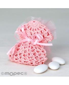 Vestidito de ganchillo en color rosa con peladillas