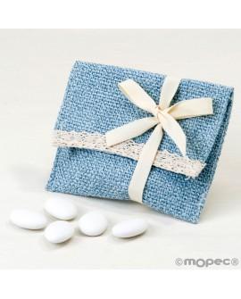 Bolsita de algodón en azul con velcro con peladillas.