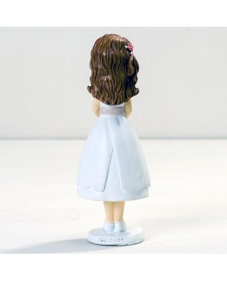 Figura tarta niña de comunión con traje corto.