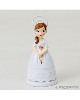 Pinza-portafotos niña de comunión con rosario.