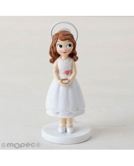 Pinza-portafotos niña de comunión con vestido corto.