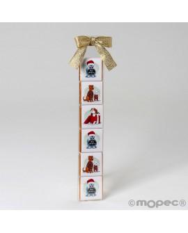Estuche 6 napolitanas detalle Navidad con lazo dorado